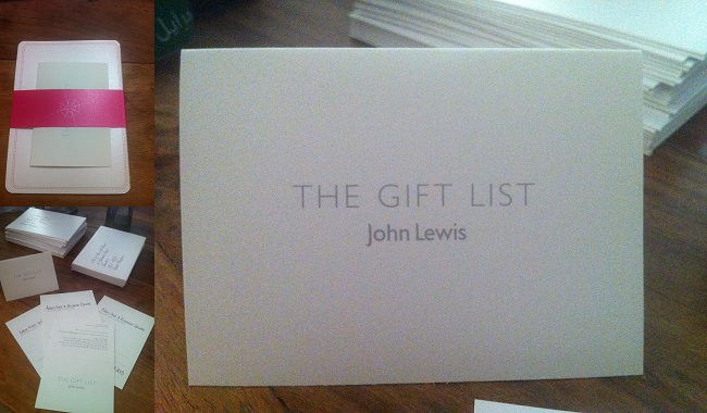 Wedding Gift List Wording John Lewis : Above: Our inserts from John Lewis (excuse poor photo quality, Im ...